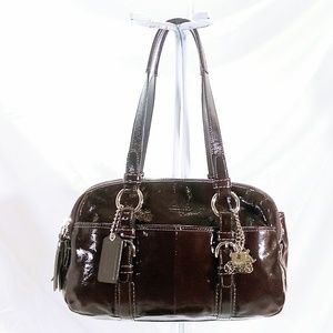 Coach Brown Patent Leather Bag & Coin Purse